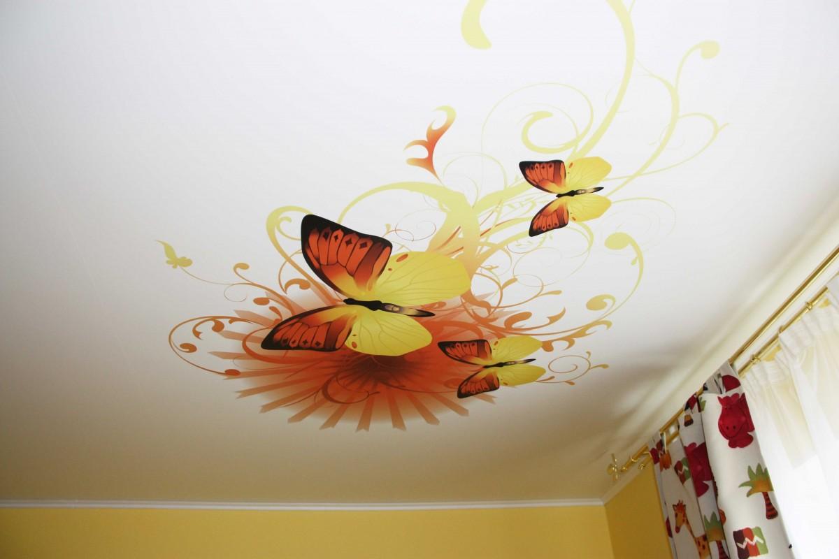 Натяжные потолки с рисунком